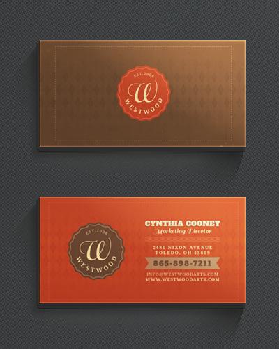 Винтажная визитка с ярко оранжевым фоном