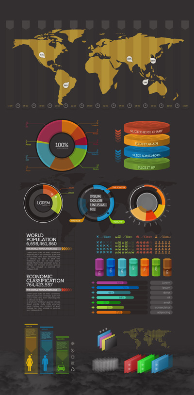 Яркая инфографика на темном фоне